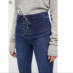 Free People High Waist Lace-Up Skinny Jeans